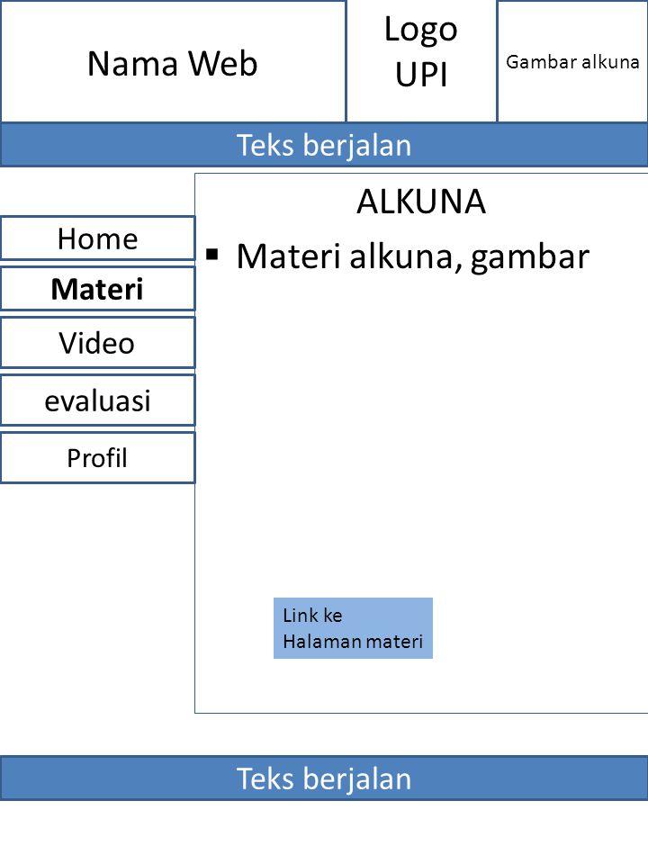 ALKUNA  Materi alkuna, gambar evaluasi Home Video Materi Profil Nama Web Gambar alkuna Logo UPI Teks berjalan Link ke Halaman materi