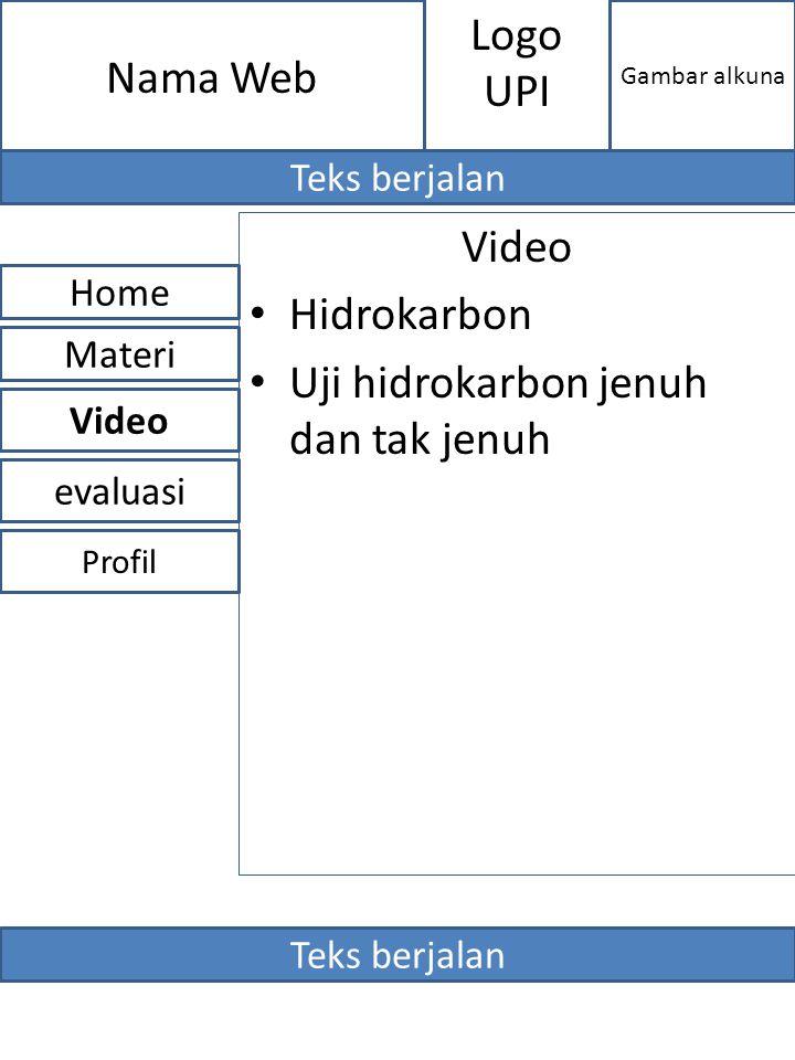 Video Hidrokarbon Uji hidrokarbon jenuh dan tak jenuh evaluasi Home Video Materi Profil Nama Web Gambar alkuna Logo UPI Teks berjalan