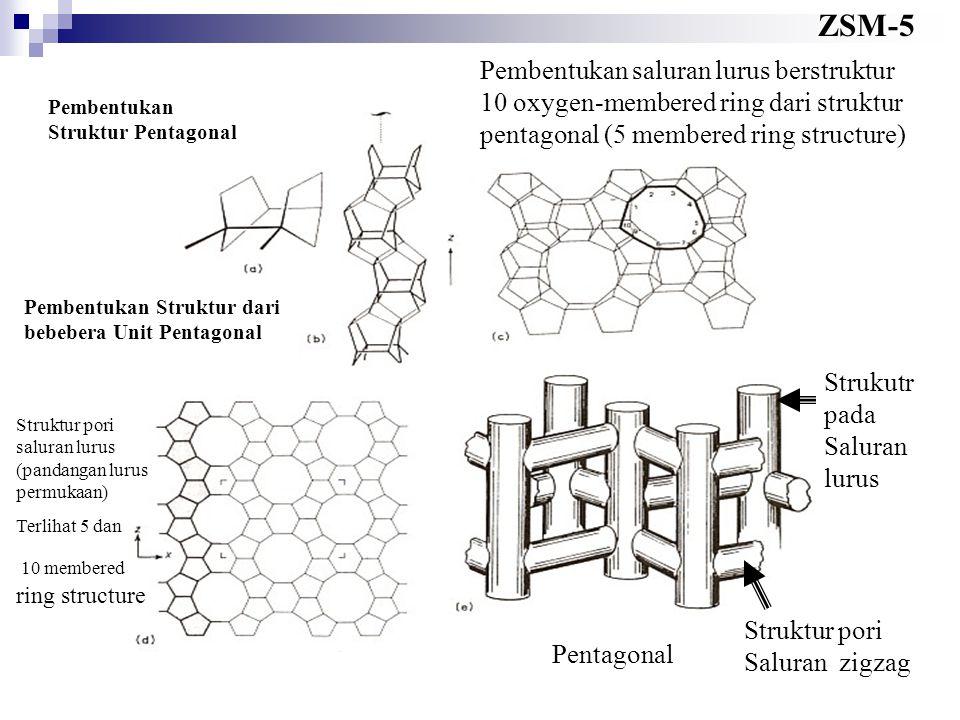ZSM-5 Pembentukan Struktur Pentagonal Pembentukan Struktur dari bebebera Unit Pentagonal Pembentukan saluran lurus berstruktur 10 oxygen-membered ring