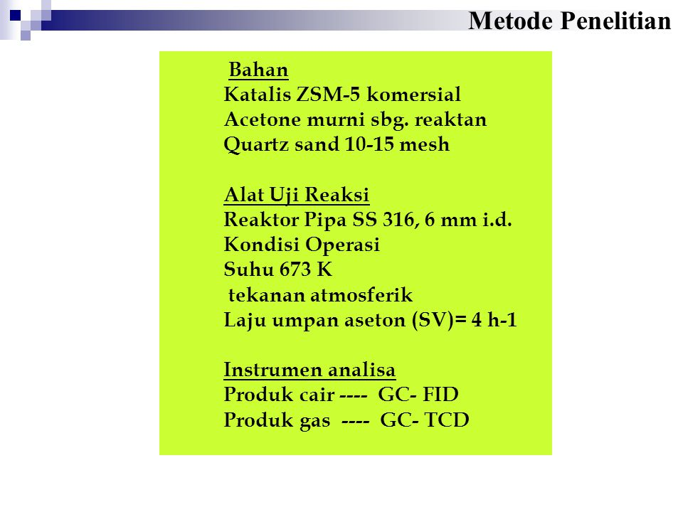 Bahan Katalis ZSM-5 komersial Acetone murni sbg. reaktan Quartz sand 10-15 mesh Alat Uji Reaksi Reaktor Pipa SS 316, 6 mm i.d. Kondisi Operasi Suhu 67