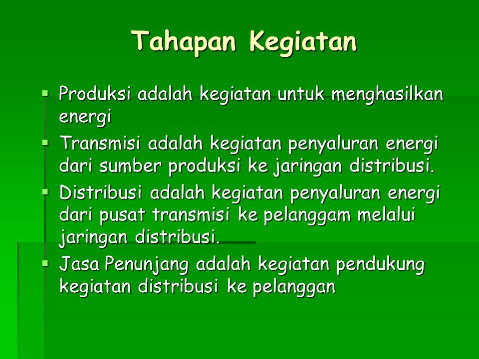 Tahapan Kegiatan  Produksi adalah kegiatan untuk menghasilkan energi  Transmisi adalah kegiatan penyaluran energi dari sumber produksi ke jaringan d