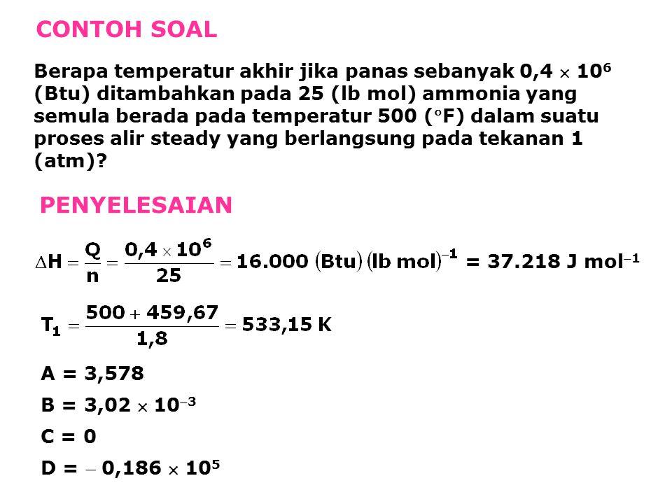 CONTOH SOAL Berapa temperatur akhir jika panas sebanyak 0,4  10 6 (Btu) ditambahkan pada 25 (lb mol) ammonia yang semula berada pada temperatur 500 (F) dalam suatu proses alir steady yang berlangsung pada tekanan 1 (atm).