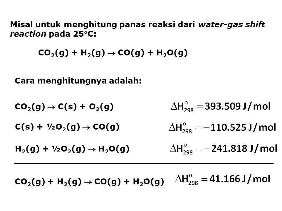 Misal untuk menghitung panas reaksi dari water-gas shift reaction pada 25C: CO 2 (g) + H 2 (g)  CO(g) + H 2 O(g) Cara menghitungnya adalah: CO 2 (g)  C(s) + O 2 (g) C(s) + ½O 2 (g)  CO(g) H 2 (g) + ½O 2 (g)  H 2 O(g) CO 2 (g) + H 2 (g)  CO(g) + H 2 O(g)