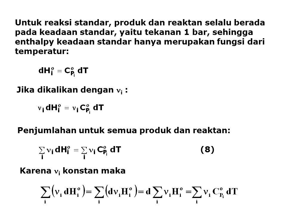 Untuk reaksi standar, produk dan reaktan selalu berada pada keadaan standar, yaitu tekanan 1 bar, sehingga enthalpy keadaan standar hanya merupakan fungsi dari temperatur: Jika dikalikan dengan i : Penjumlahan untuk semua produk dan reaktan: (8) Karena i konstan maka