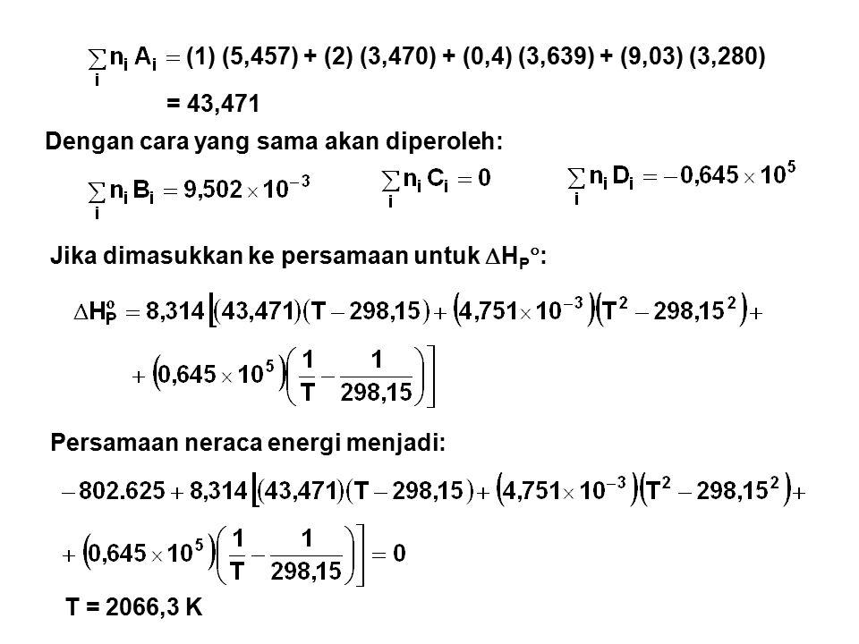 (1) (5,457) + (2) (3,470) + (0,4) (3,639) + (9,03) (3,280) Dengan cara yang sama akan diperoleh: = 43,471 Jika dimasukkan ke persamaan untuk  H P  : Persamaan neraca energi menjadi: T = 2066,3 K