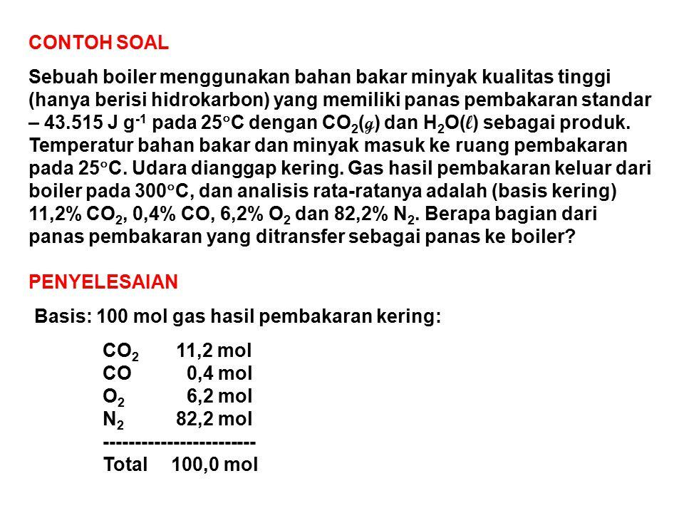 CONTOH SOAL Sebuah boiler menggunakan bahan bakar minyak kualitas tinggi (hanya berisi hidrokarbon) yang memiliki panas pembakaran standar – 43.515 J g -1 pada 25  C dengan CO 2 ( g ) dan H 2 O( l ) sebagai produk.