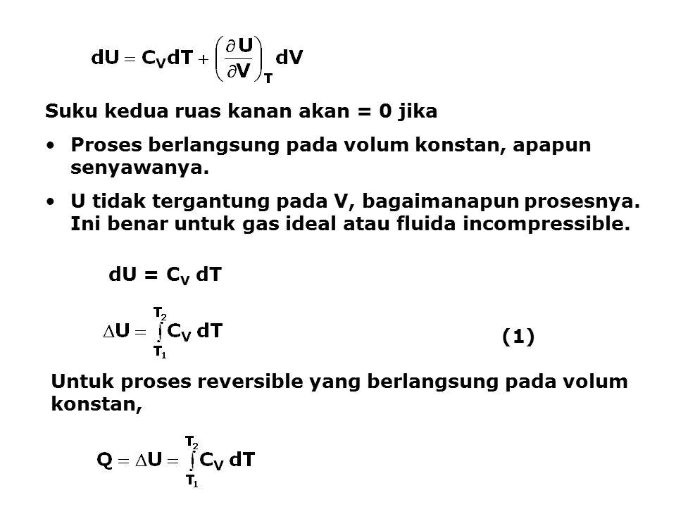 Enthaply juga dapat dinyatakan sebagai fungsi dari T dan P: H =H(T,P) Suku kedua ruas akan akan = 0 jika Proses berlangsung pada tekanan konstan, apapun senyawanya.