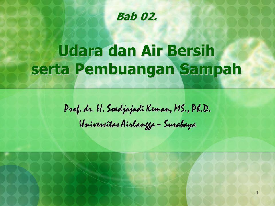 1 Bab 02. Udara dan Air Bersih serta Pembuangan Sampah Prof. dr. H. Soedjajadi Keman, MS., Ph.D. Universitas Airlangga – Surabaya
