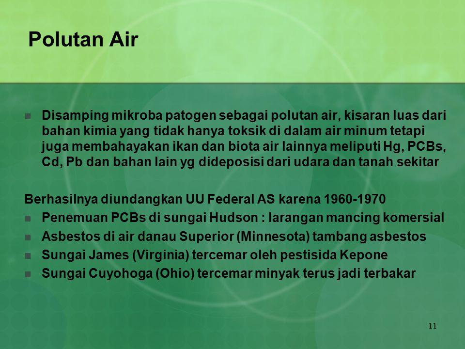 11 Polutan Air Disamping mikroba patogen sebagai polutan air, kisaran luas dari bahan kimia yang tidak hanya toksik di dalam air minum tetapi juga mem