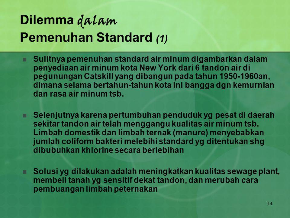 14 Dilemma dalam Pemenuhan Standard (1) Sulitnya pemenuhan standard air minum digambarkan dalam penyediaan air minum kota New York dari 6 tandon air d
