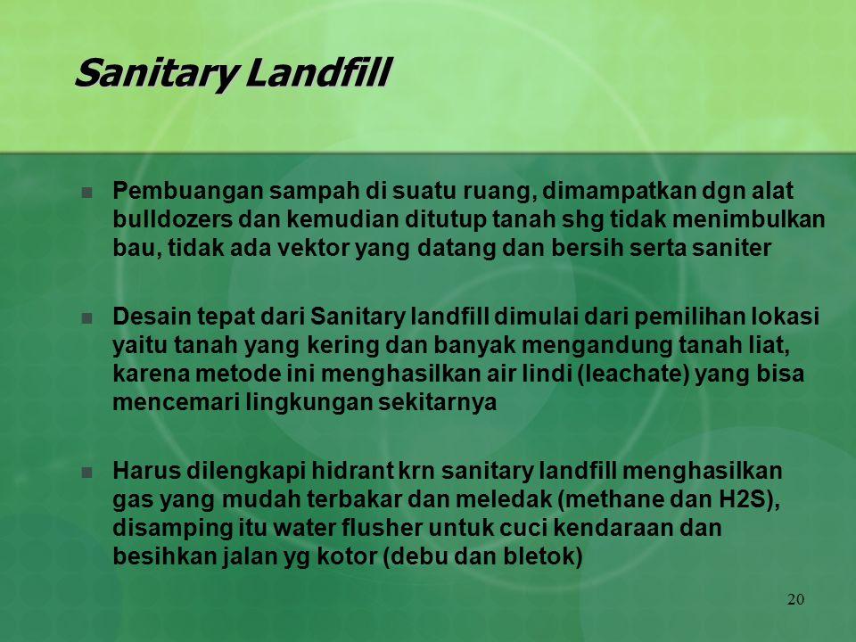 20 Sanitary Landfill Pembuangan sampah di suatu ruang, dimampatkan dgn alat bulldozers dan kemudian ditutup tanah shg tidak menimbulkan bau, tidak ada