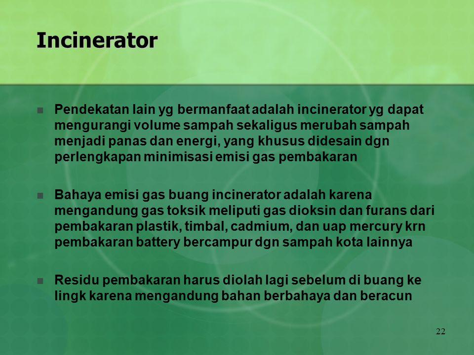 22 Incinerator Pendekatan lain yg bermanfaat adalah incinerator yg dapat mengurangi volume sampah sekaligus merubah sampah menjadi panas dan energi, y
