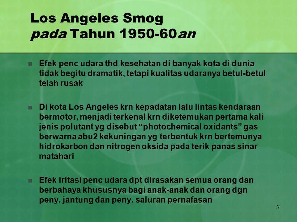 3 Los Angeles Smog pada Tahun 1950-60an Efek penc udara thd kesehatan di banyak kota di dunia tidak begitu dramatik, tetapi kualitas udaranya betul-be