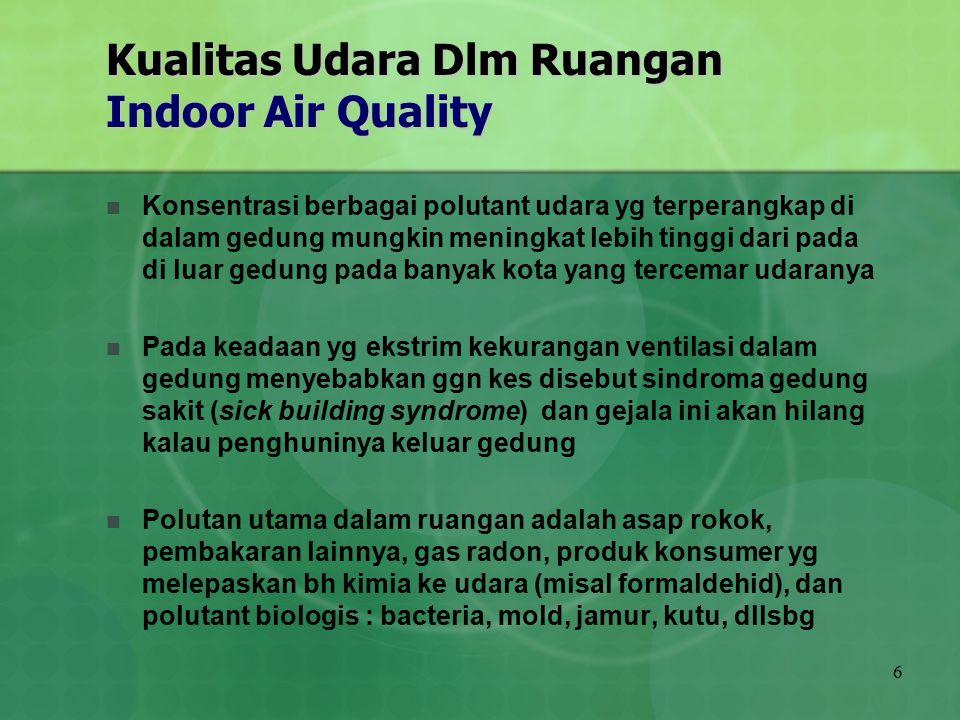 6 Kualitas Udara Dlm Ruangan Indoor Air Quality Konsentrasi berbagai polutant udara yg terperangkap di dalam gedung mungkin meningkat lebih tinggi dar