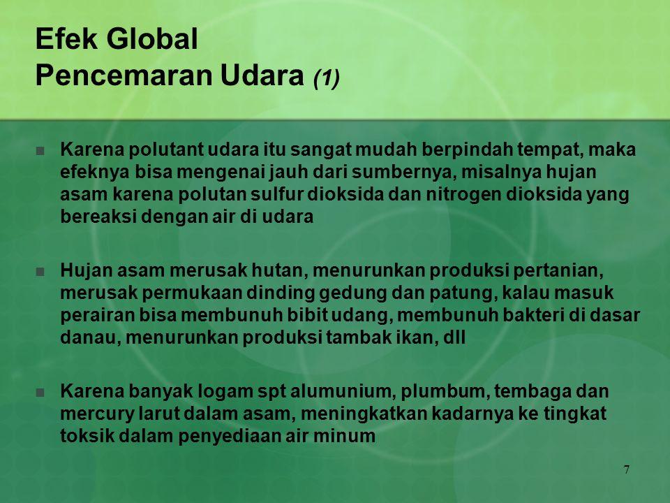 7 Efek Global Pencemaran Udara (1) Karena polutant udara itu sangat mudah berpindah tempat, maka efeknya bisa mengenai jauh dari sumbernya, misalnya h