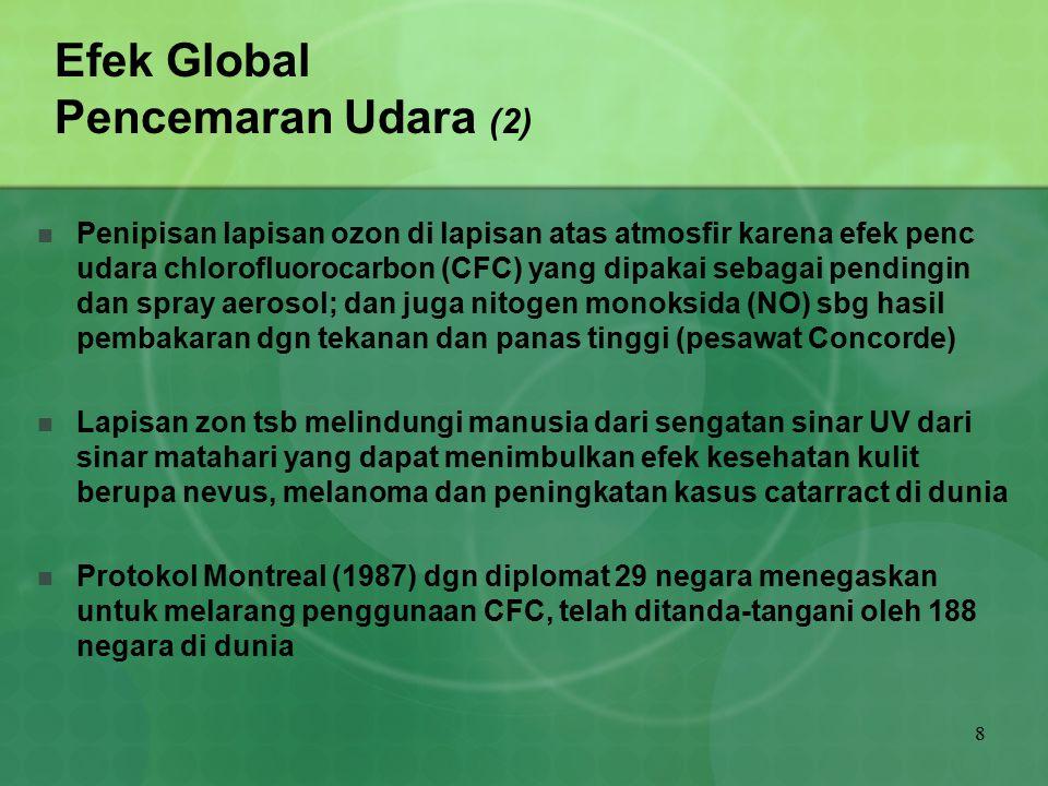 8 Efek Global Pencemaran Udara (2) Penipisan lapisan ozon di lapisan atas atmosfir karena efek penc udara chlorofluorocarbon (CFC) yang dipakai sebaga