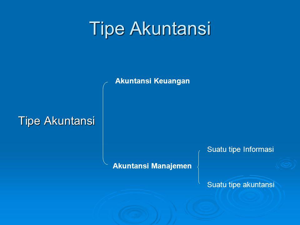 Tipe Akuntansi Akuntansi Keuangan Akuntansi Manajemen Suatu tipe Informasi Suatu tipe akuntansi