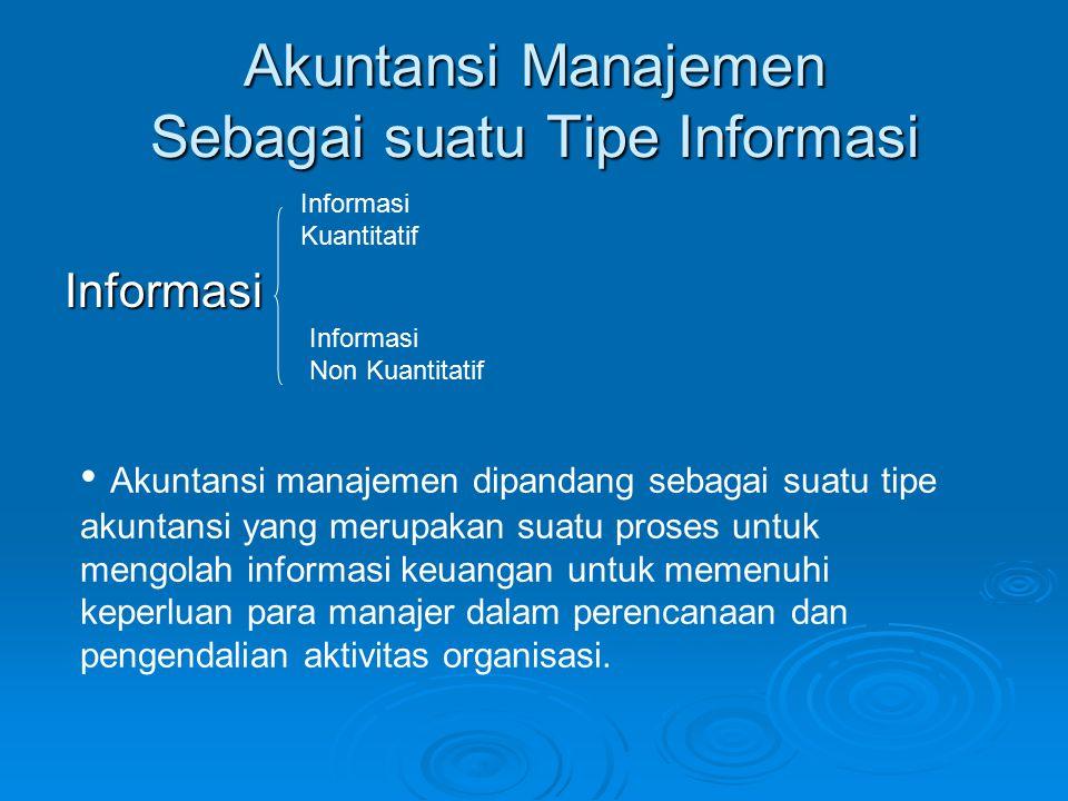 Akuntansi Manajemen Sebagai suatu Tipe Informasi Informasi Informasi Kuantitatif Informasi Non Kuantitatif Akuntansi manajemen dipandang sebagai suatu