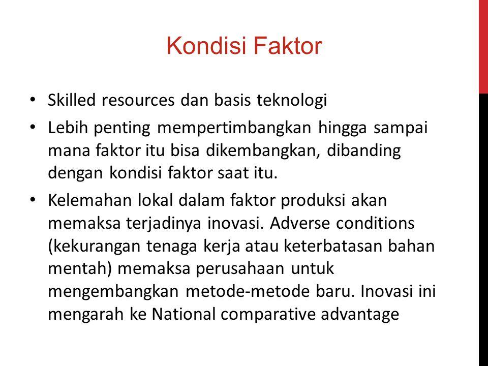 Kondisi Faktor Pengetahuan dan pengalaman yang lebih rendah Tersedianya bahan karet alam yang melimpah Indonesia merupakan salah satu penghasil karet terbesar dengan total produksi 2,92 juta ton pada 2010 Harga karet terus mengalami kenaikan Infrastruktur jalan di Indonesia masih bisa dibenahi