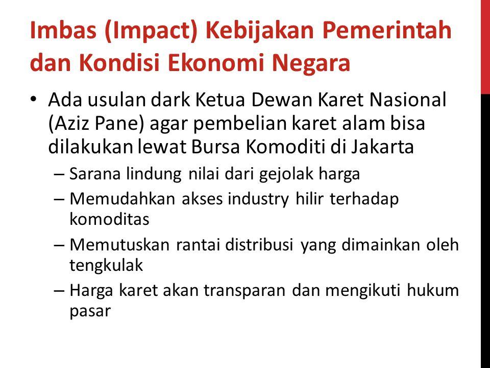 Imbas (Impact) Kebijakan Pemerintah dan Kondisi Ekonomi Negara Ada usulan dark Ketua Dewan Karet Nasional (Aziz Pane) agar pembelian karet alam bisa d