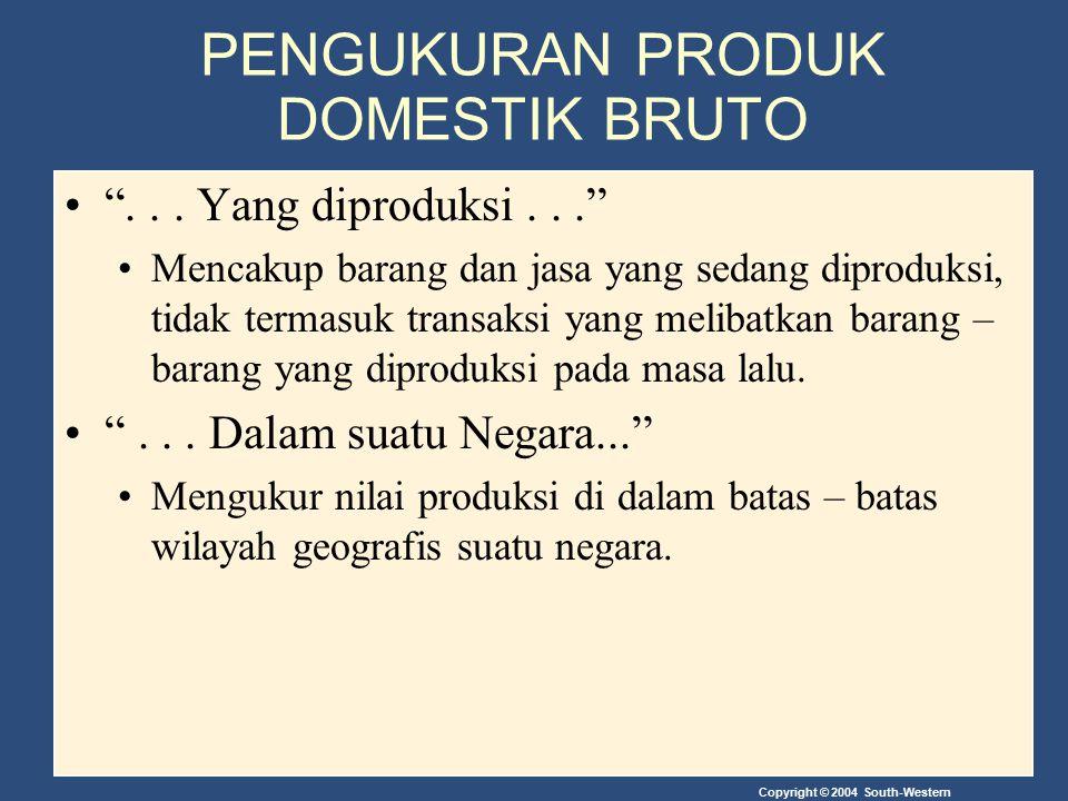 """Copyright © 2004 South-Western PENGUKURAN PRODUK DOMESTIK BRUTO """"... Yang diproduksi..."""" Mencakup barang dan jasa yang sedang diproduksi, tidak termas"""