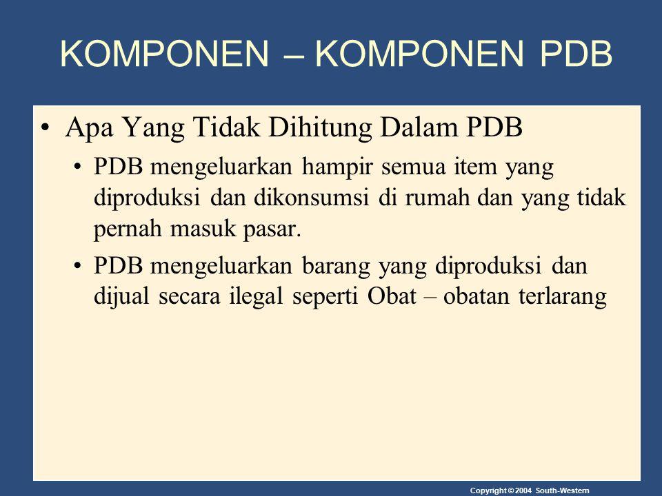 Copyright © 2004 South-Western KOMPONEN – KOMPONEN PDB Apa Yang Tidak Dihitung Dalam PDB PDB mengeluarkan hampir semua item yang diproduksi dan dikons