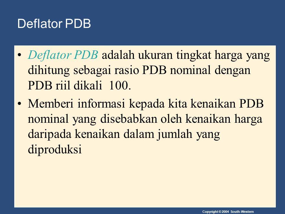Deflator PDB Deflator PDB adalah ukuran tingkat harga yang dihitung sebagai rasio PDB nominal dengan PDB riil dikali 100. Memberi informasi kepada kit