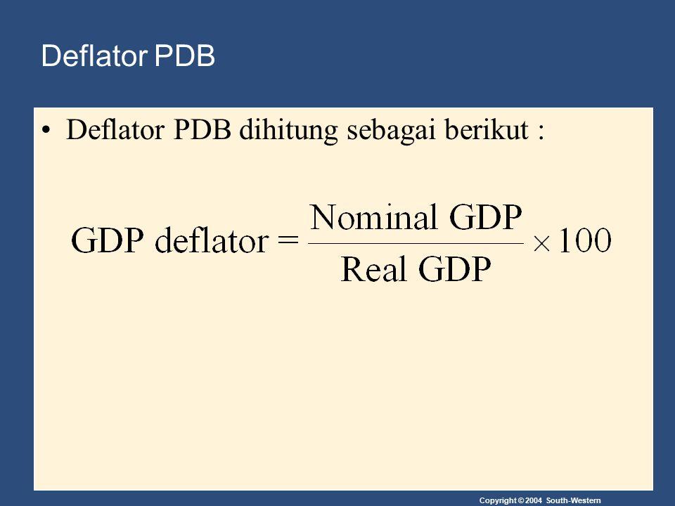Copyright © 2004 South-Western Deflator PDB Deflator PDB dihitung sebagai berikut :