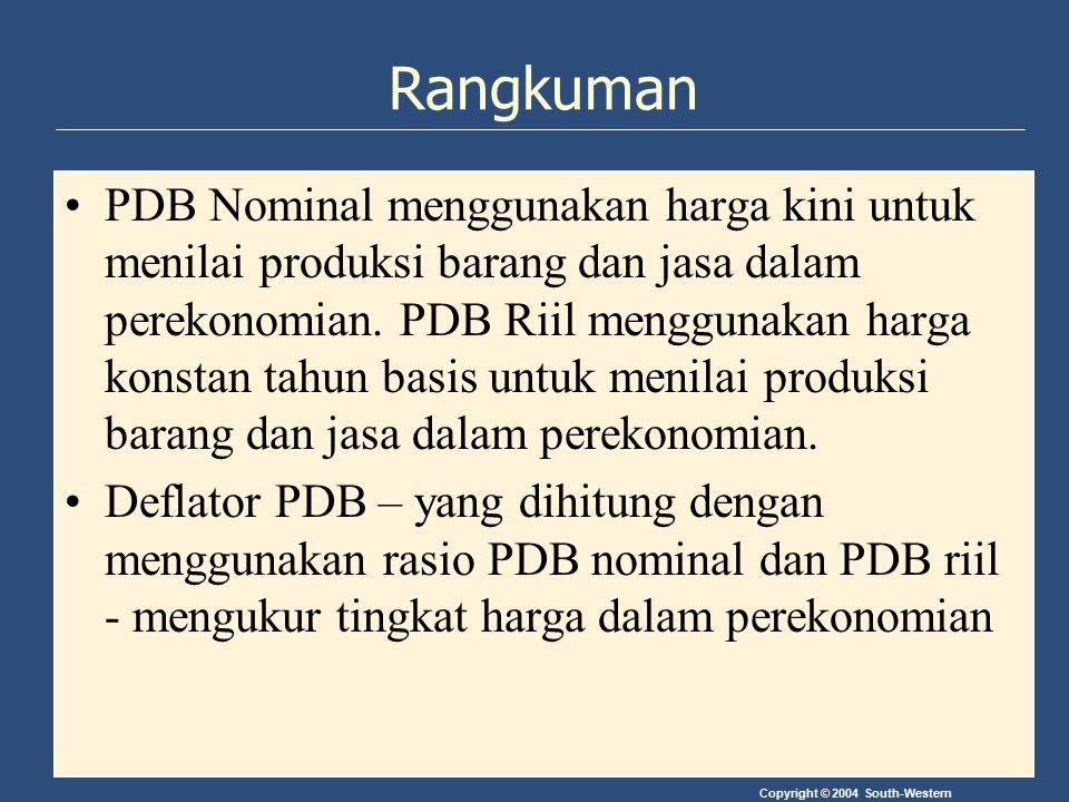 Copyright © 2004 South-Western Rangkuman PDB Nominal menggunakan harga kini untuk menilai produksi barang dan jasa dalam perekonomian. PDB Riil menggu