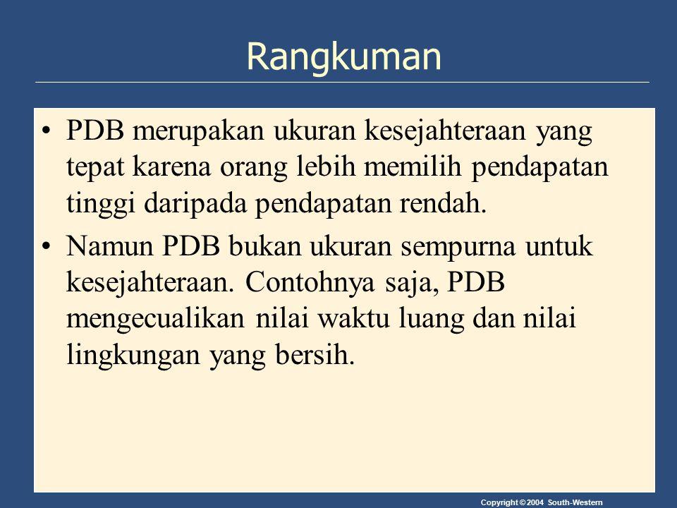 Copyright © 2004 South-Western Rangkuman PDB merupakan ukuran kesejahteraan yang tepat karena orang lebih memilih pendapatan tinggi daripada pendapata