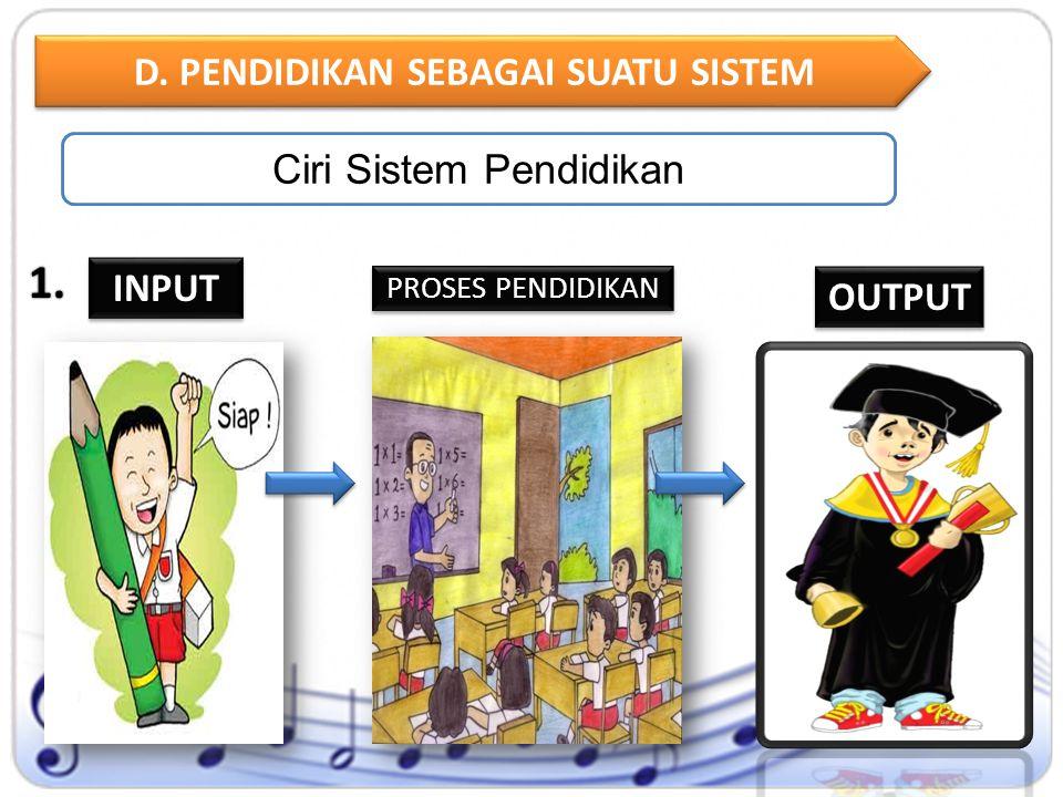1. 1. D. PENDIDIKAN SEBAGAI SUATU SISTEM Ciri Sistem Pendidikan INPUT OUTPUT PROSES PENDIDIKAN