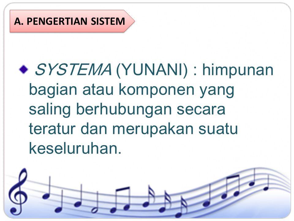 SYSTEMA (YUNANI) : himpunan bagian atau komponen yang saling berhubungan secara teratur dan merupakan suatu keseluruhan. A. PENGERTIAN SISTEM