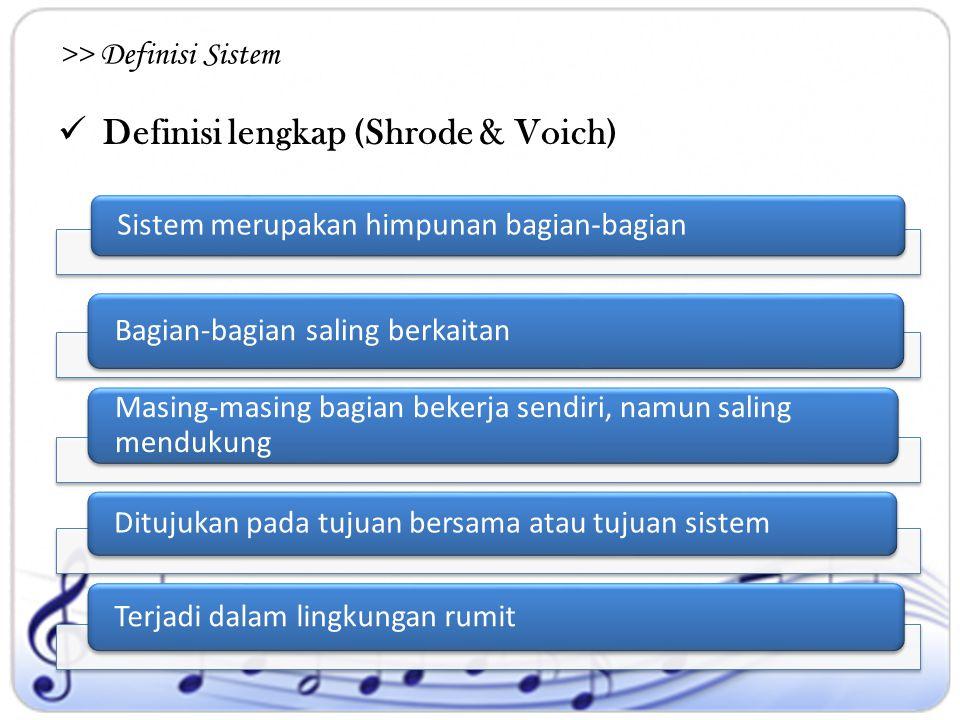 Definisi lengkap (Shrode & Voich) >> Definisi Sistem Sistem merupakan himpunan bagian-bagian Bagian-bagian saling berkaitan Masing-masing bagian beker