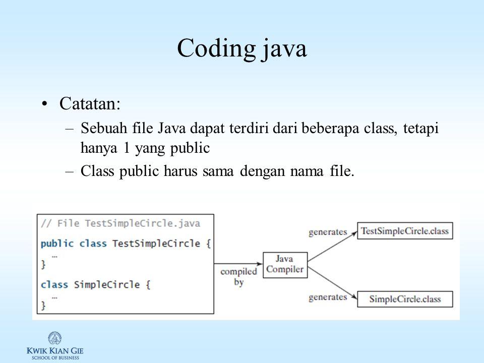 Coding java Catatan: –Sebuah file Java dapat terdiri dari beberapa class, tetapi hanya 1 yang public –Class public harus sama dengan nama file.