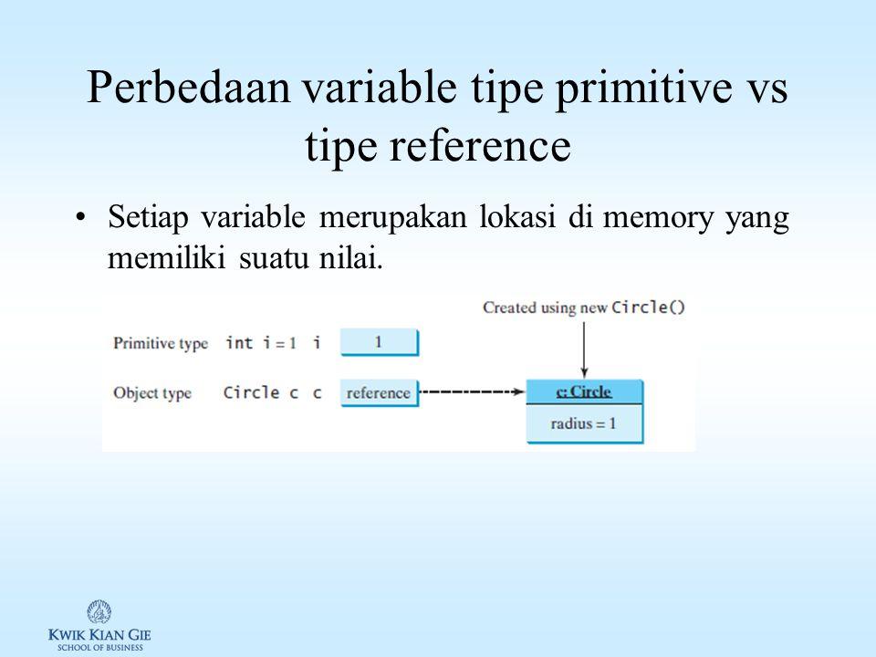 Perbedaan variable tipe primitive vs tipe reference Setiap variable merupakan lokasi di memory yang memiliki suatu nilai.