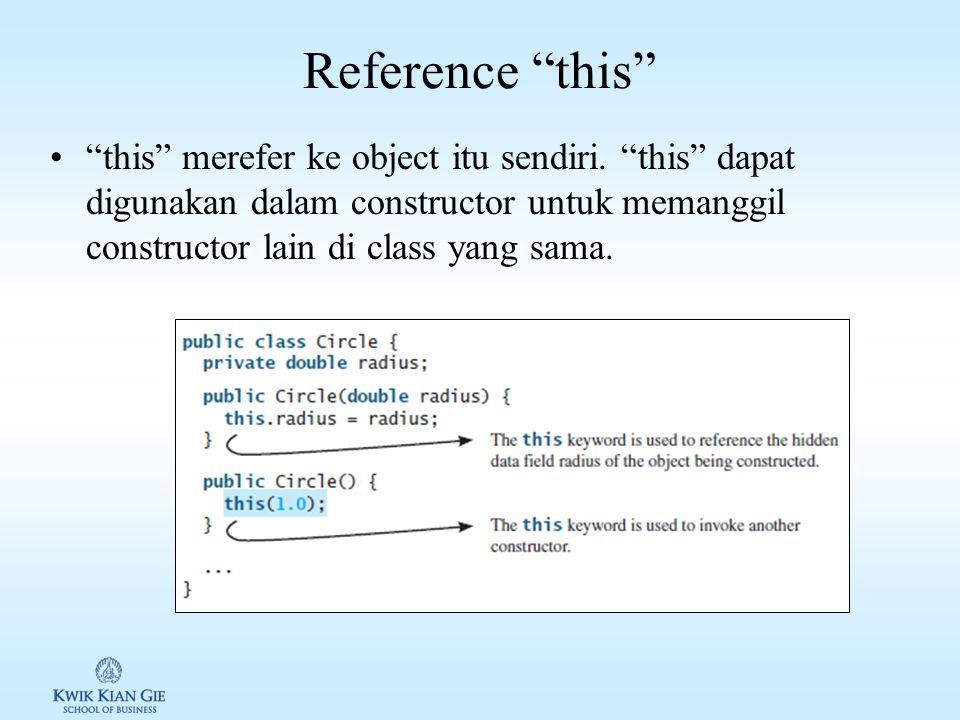 Reference this this merefer ke object itu sendiri.