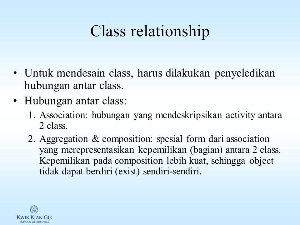 Class relationship Untuk mendesain class, harus dilakukan penyeledikan hubungan antar class.