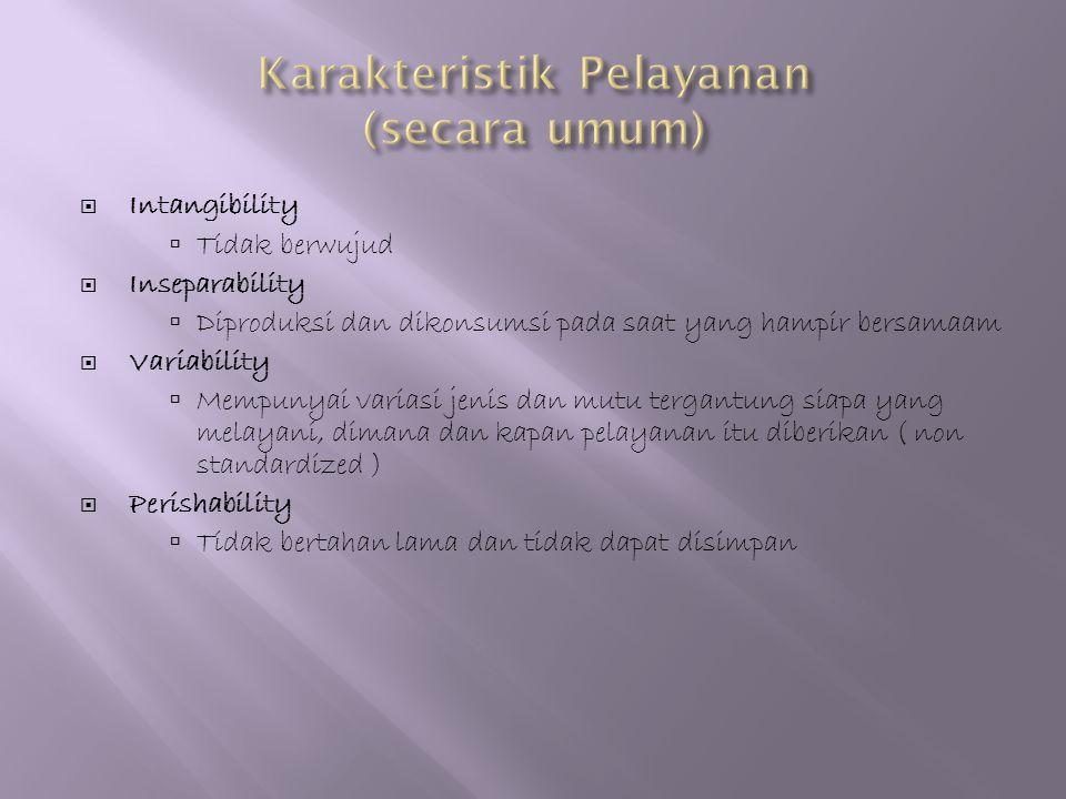  Intangibility  Tidak berwujud  Inseparability  Diproduksi dan dikonsumsi pada saat yang hampir bersamaam  Variability  Mempunyai variasi jenis
