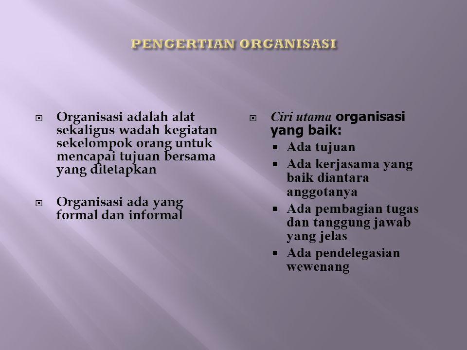 Organisasi adalah alat sekaligus wadah kegiatan sekelompok orang untuk mencapai tujuan bersama yang ditetapkan  Organisasi ada yang formal dan info