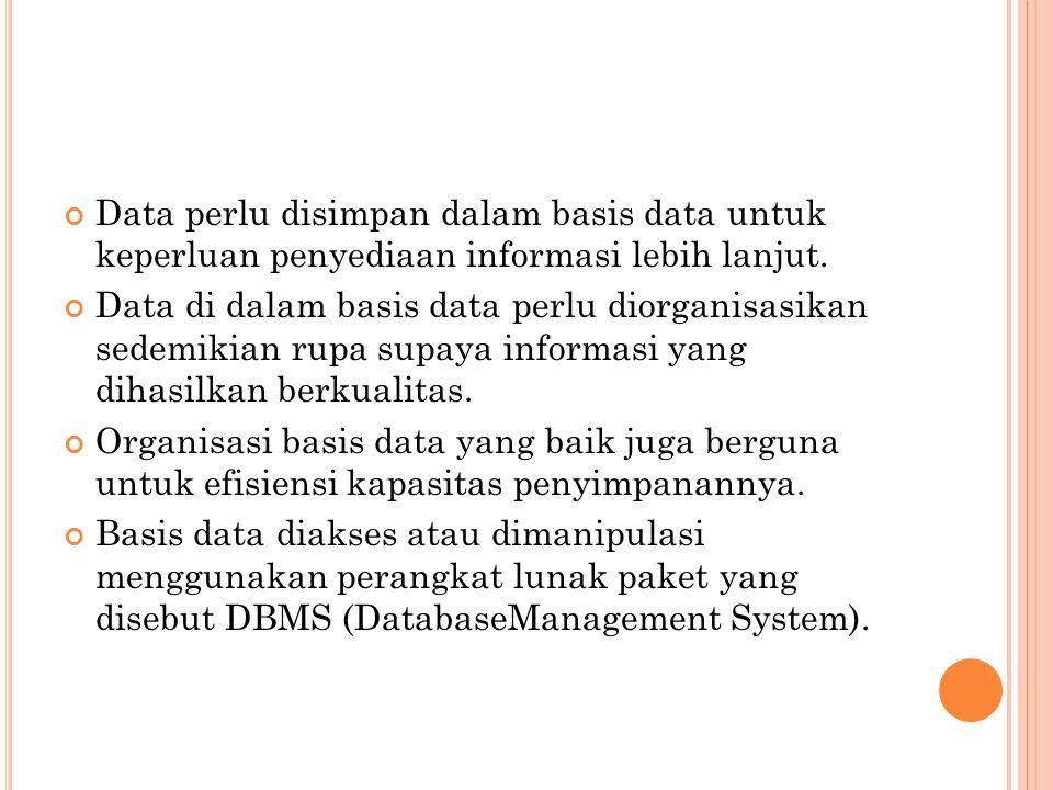 Data perlu disimpan dalam basis data untuk keperluan penyediaan informasi lebih lanjut. Data di dalam basis data perlu diorganisasikan sedemikian rupa