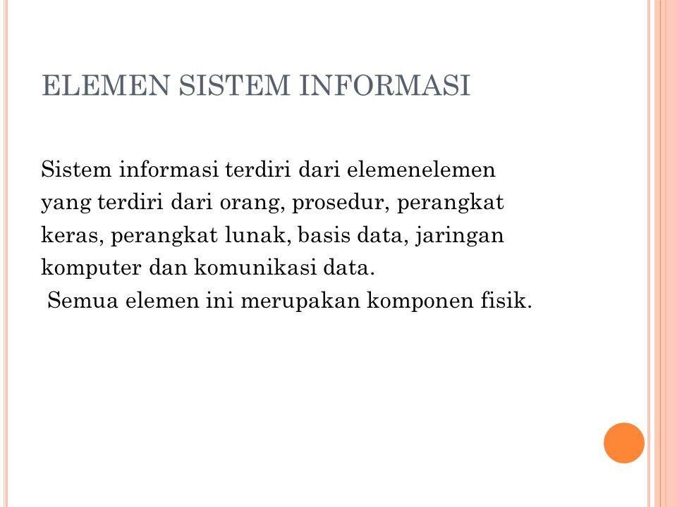 ELEMEN SISTEM INFORMASI Sistem informasi terdiri dari elemenelemen yang terdiri dari orang, prosedur, perangkat keras, perangkat lunak, basis data, ja
