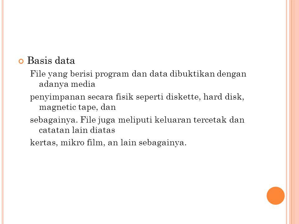 Basis data File yang berisi program dan data dibuktikan dengan adanya media penyimpanan secara fisik seperti diskette, hard disk, magnetic tape, dan s