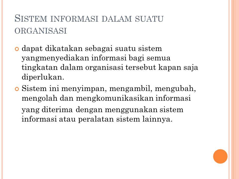 S ISTEM INFORMASI DALAM SUATU ORGANISASI dapat dikatakan sebagai suatu sistem yangmenyediakan informasi bagi semua tingkatan dalam organisasi tersebut