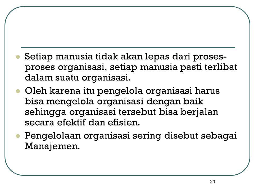 21 Setiap manusia tidak akan lepas dari proses- proses organisasi, setiap manusia pasti terlibat dalam suatu organisasi.