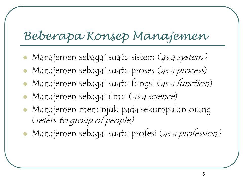 3 Beberapa Konsep Manajemen Manajemen sebagai suatu sistem (as a system) Manajemen sebagai suatu proses (as a process) Manajemen sebagai suatu fungsi