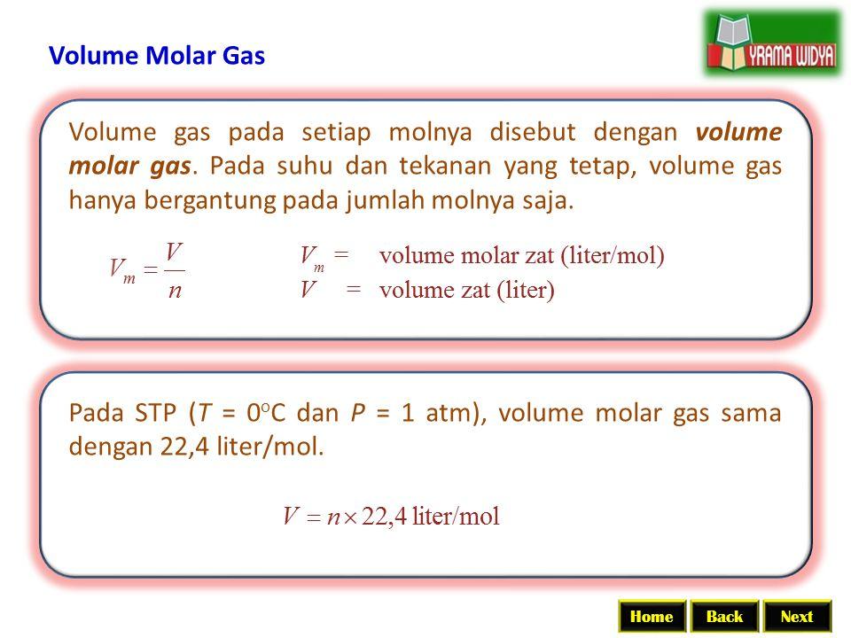 BackNextHome Volume Molar Gas Volume gas pada setiap molnya disebut dengan volume molar gas. Pada suhu dan tekanan yang tetap, volume gas hanya bergan