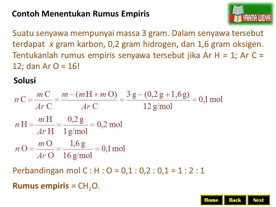 BackNextHome Contoh Menentukan Rumus Empiris Suatu senyawa mempunyai massa 3 gram. Dalam senyawa tersebut terdapat x gram karbon, 0,2 gram hidrogen, d
