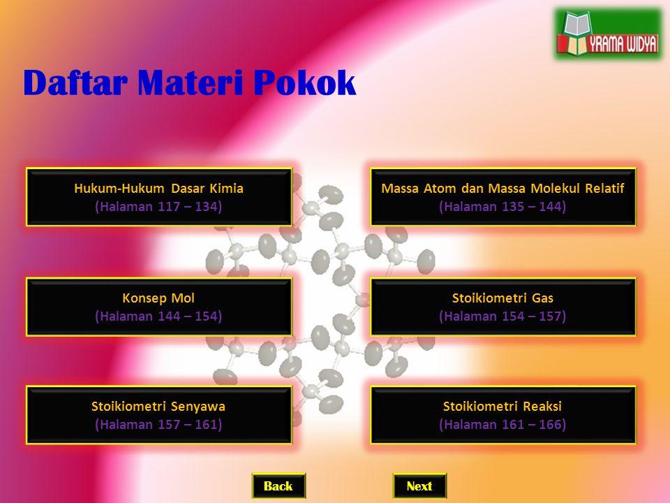 Hukum-Hukum Dasar Kimia (Halaman 117 – 134) Daftar Materi Pokok BackNext Massa Atom dan Massa Molekul Relatif (Halaman 135 – 144) Konsep Mol (Halaman