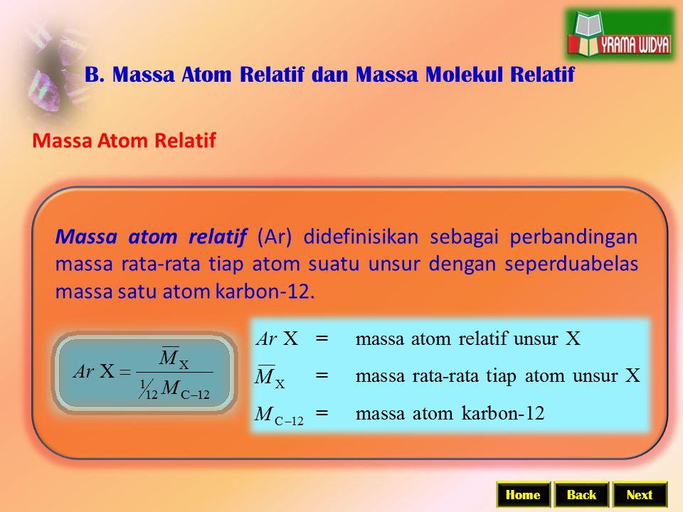 BackNextHome B. Massa Atom Relatif dan Massa Molekul Relatif Massa Atom Relatif Massa atom relatif (Ar) didefinisikan sebagai perbandingan massa rata-