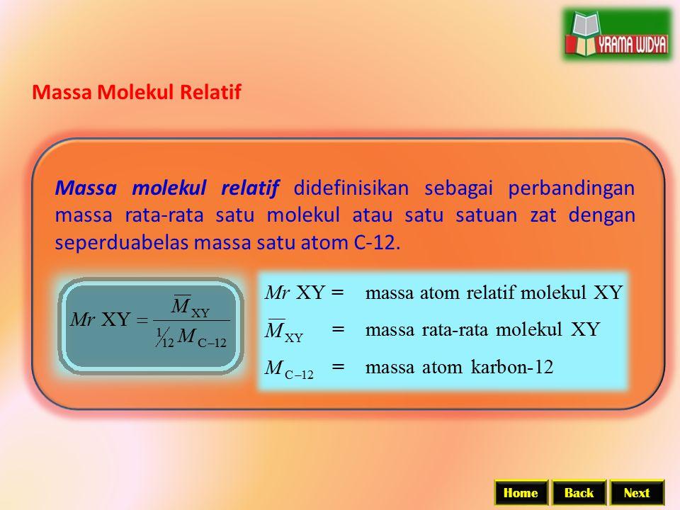 BackNextHome Massa Molekul Relatif Massa molekul relatif didefinisikan sebagai perbandingan massa rata-rata satu molekul atau satu satuan zat dengan s